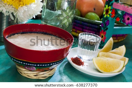 mexican tejate drink oaxaca traditional decorated stock photo edit