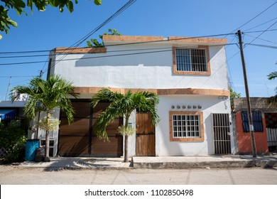 Mexican typical house in Tulum street, riviera maya