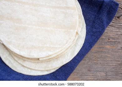 Mexican white corn flour tortillas ready for making into tacos.
