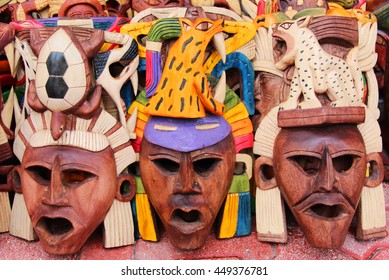 Mexican wooden carved masks