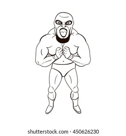 Mexican wrestler in cartoon style