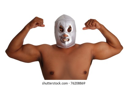 mexican wrestling mask silver fighter gesture isolated on white background