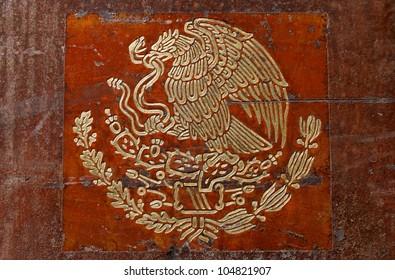 Mexicans flag coat of arms closeup