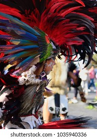 MEXICO, MEXICO - 01 DECEMBER 2017:  Portrait of the dancer performing traditional Aztec dances in the capital city of Mexico