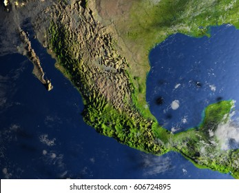 Mexico. 3D illustration with detailed planet surface and visible city lights. Elements of this image furnished by NASA.
