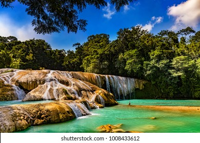 "Mexico. The Agua Azul cascades (""Blue-water Falls"", located in the southern state of Chiapas) - the largest cataracts"
