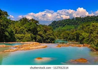 "Mexico. The Agua Azul cascades (""Blue-water Falls"", located in the southern state of Chiapas)"