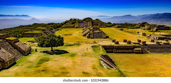 Mexico. Archaeological Site of Monte Alban (UNESCO World Heritage Site) - panoramic view from the North Platform