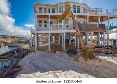 Mexico Beach, Florida, United States October 26, 2018.  16 days after Hurricane Michael. Canal Park, this house survived but with major damage.