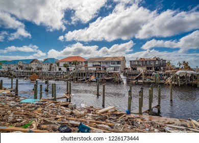 Mexico Beach, Florida, United States October 26, 2018.  16 days after Hurricane Michael. Canal Park destruction
