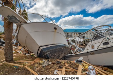 Mexico Beach, Florida, United States October 26, 2018.  16 days after Hurricane Michael. Canal Park, boats tossed on land
