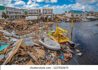 Mexico Beach, Florida, United States October 26, 2018.  16 days after Hurricane Michael. Canal Park east side of canal, looking towards the Gulf of Mexico