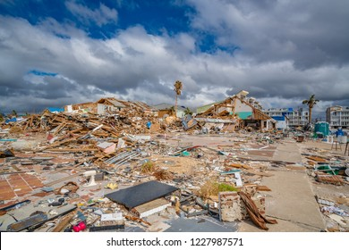 Mexico Beach, Florida, United States October 26, 2018. 16 days after Hurricane Michael. The Mexico Beach Public Pier area. Total destruction of homes along the beach. Concrete slabs covered in debris