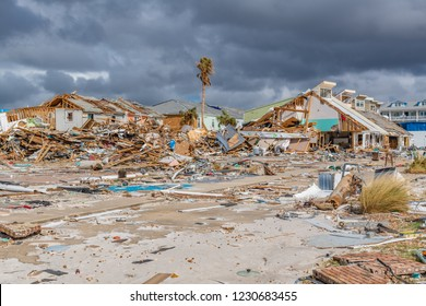Mexico Beach, Florida, United States October 26, 2018.  16 days after Hurricane Michael. The Mexico Beach Public Pier area, what is left of houses in this area
