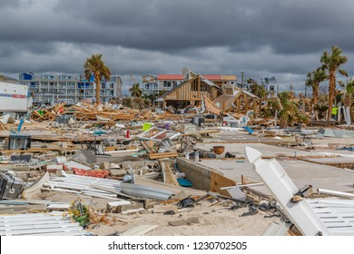 Mexico Beach, Florida, United States October 26, 2018.  16 days after Hurricane Michael. The Mexico Beach Public Pier area. Concrete slabs & debris field.