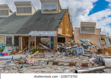 Mexico Beach, Florida, United States October 26, 2018. 16 days after Hurricane Michael. The Mexico Beach Public Pier area. Houses are destroyed