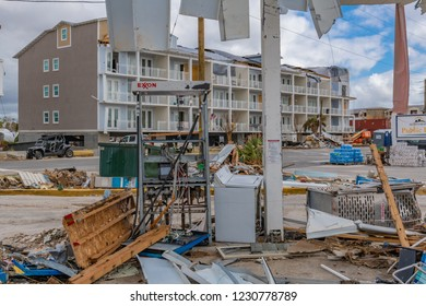 Mexico Beach, Florida, United States October 26, 2018. 16 days after Hurricane Michael. The Mexico Beach Public Pier area. What's left of an Exxon station pump
