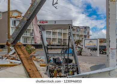 Mexico Beach, Florida, United States October 26, 2018.  16 days after Hurricane Michael. The Mexico Beach Public Pier area. Exxon pump 3 destroyed