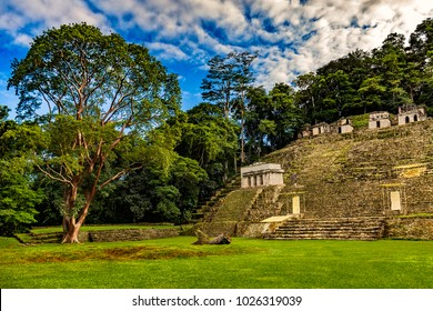 Mexico. The Bonampak Archaeological Park. The Grand Plaza and a large terraced acropolis