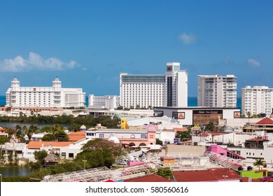MEXICO, CANCUN -  6 MARCH 2015: Riu hotel, aerial view from balcony