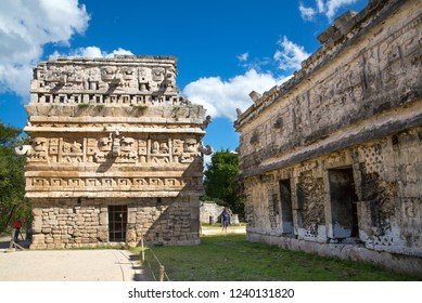 Mexico, Cancun - February 15, 2018: Chichen Itzá, Yucatán. Ruins of the private yard, possibly belonged to the royal family