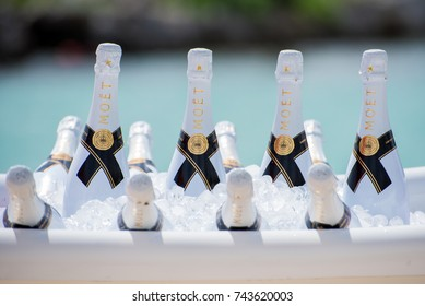 Mexico, Cancun- October 26, 2017:Bottles of Moet champagne in the bucket with ice. Wedding on the beach.