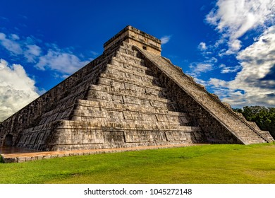 Mexico. Chichen Itza Archaeological Site. North-West view of El Castillo (The Castle, also known as the Temple of Kukulcan; on UNESCO World Heritage Site)