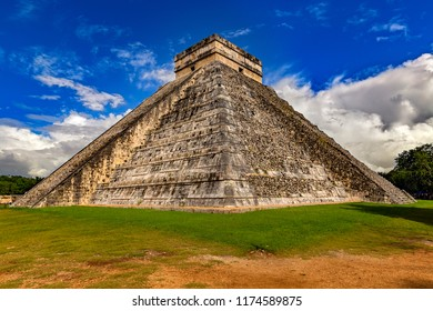 Mexico. Chichen Itza Archaeological Site. South-West view of El Castillo (The Castle, also known as the Temple of Kukulcan; on UNESCO World Heritage Site)