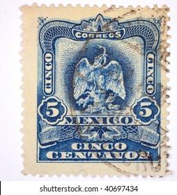 """MEXICO - CIRCA 1929: A stamp printed in Mexico shows """"5 cinco"""", series, circa 1929"""