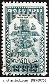 MEXICO - CIRCA 1935: a stamp printed in the Mexico shows Aztec Bird-Man, circa 1935
