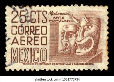 MEXICO - CIRCA 1950: a stamp printed in the Mexico shows michoacan, traditional masks, michoacan popular art, circa 1950