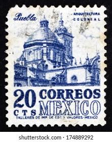 MEXICO - CIRCA 1950: a stamp printed in the Mexico shows Puebla Cathedral in the City of Puebla, Mexico, circa 1950