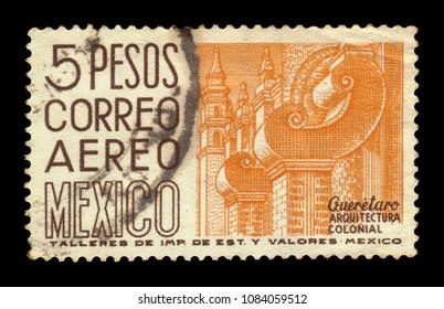 MEXICO - CIRCA 1951: a stamp printed in Mexico, shows cityscape of Queretaro - Colonial architecture, Mexico, circa 1951