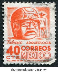MEXICO - CIRCA 1951: A stamp printed in the Mexico, shows a giant stone head Olmec, La Venta, circa 1951