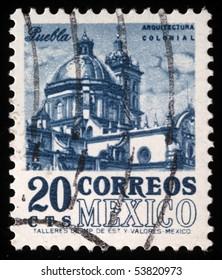 MEXICO - CIRCA 1960s: A stamp printed in Mexico shows Cathedral of Puebla, circa 1960s