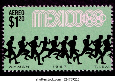 MEXICO - CIRCA 1967: A postage stamp printed in Mexico showing an image of marathon runners, circa 1967
