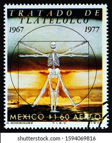 MEXICO - CIRCA 1977: A stamp printed in Mexico issued for the 10th anniversary of the Treaty of Tlatelolco, Prohibition of Nuclear Weapons in Latin America shows Vitruvian Man, circa 1977.