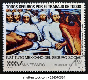 MEXICO - CIRCA 1978: A stamp printed in Mexico shows mural by Diego Alfaro Siqueiros, circa 1978