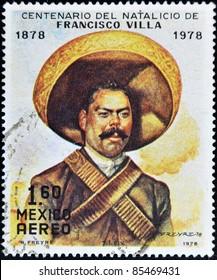 MEXICO - CIRCA 1978: A stamp printed in Mexico commemorates the centenary of the birth of Pancho Villa, circa 1978
