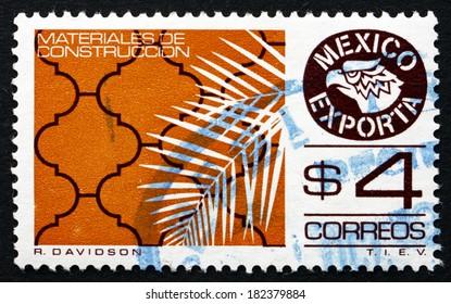 MEXICO - CIRCA 1980: a stamp printed in the Mexico shows Tile, Mexican Export, circa 1980