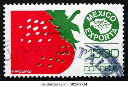 MEXICO - CIRCA 1990: a stamp printed in the Mexico shows Strawberries, Mexican Export, circa 1990