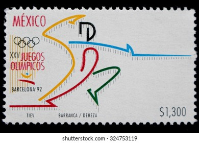 """MEXICO - CIRCA 1992: A postage stamp printed in Mexico showing an image of soccer player, from the series """" Olympic Games, Barcelona, 1992"""",  circa 1992"""