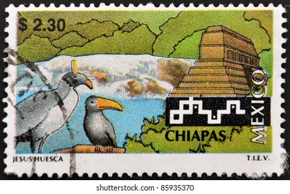 MEXICO - CIRCA 1993: A stamp printed in Mexico relating to tourism in Chiapas, circa 1993