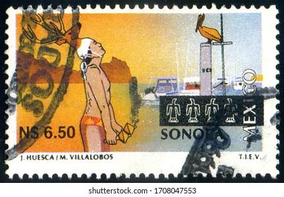 MEXICO - CIRCA 1995: stamp 6.50 Mexican new peso printed in Mexico shows Sonora Dancing Indian Yaki, circa 1995
