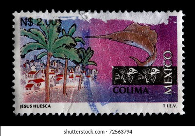 MEXICO - CIRCA 1997: A $2 stamp printed in Mexico shows palm trees, buildings and a sailfish associated with the state and city of Colima, Mexico, circa 1997