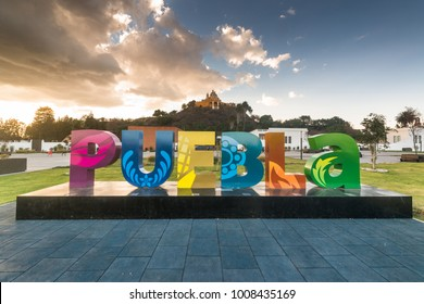 Mexico, circa january 2017: Puebla city sign in Puebla, Mexico