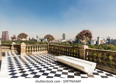 Mexico, Mexico City -01 november 2016: view of the city of Mexico City view from the terrace Chapultepec located at the top of the Mount Chapultepec in Mexico City