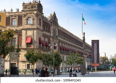 Mexico City, Mexico - 04/21/2018; Zócalo, National Palace in Mexico. A square full of locals and tourists.