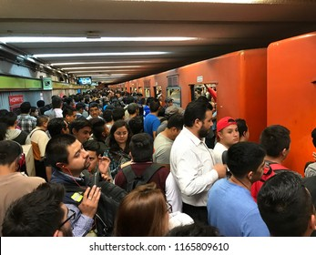 Mexico City, Mexico, 08/16/2018. Mexico City crowded subway at Rush Hour. Bellas Artes metro station. The subway in the capital, is an economic and effective means for the mobility of the population