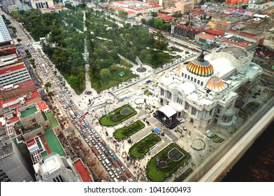 """Mexico City, Mexico - 10 26 2013: View of Bellas artes from Torre Latinoamericana"""